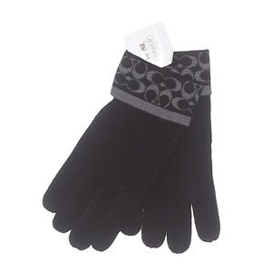 NEW COACH Signature Black & Gray Touch Gloves